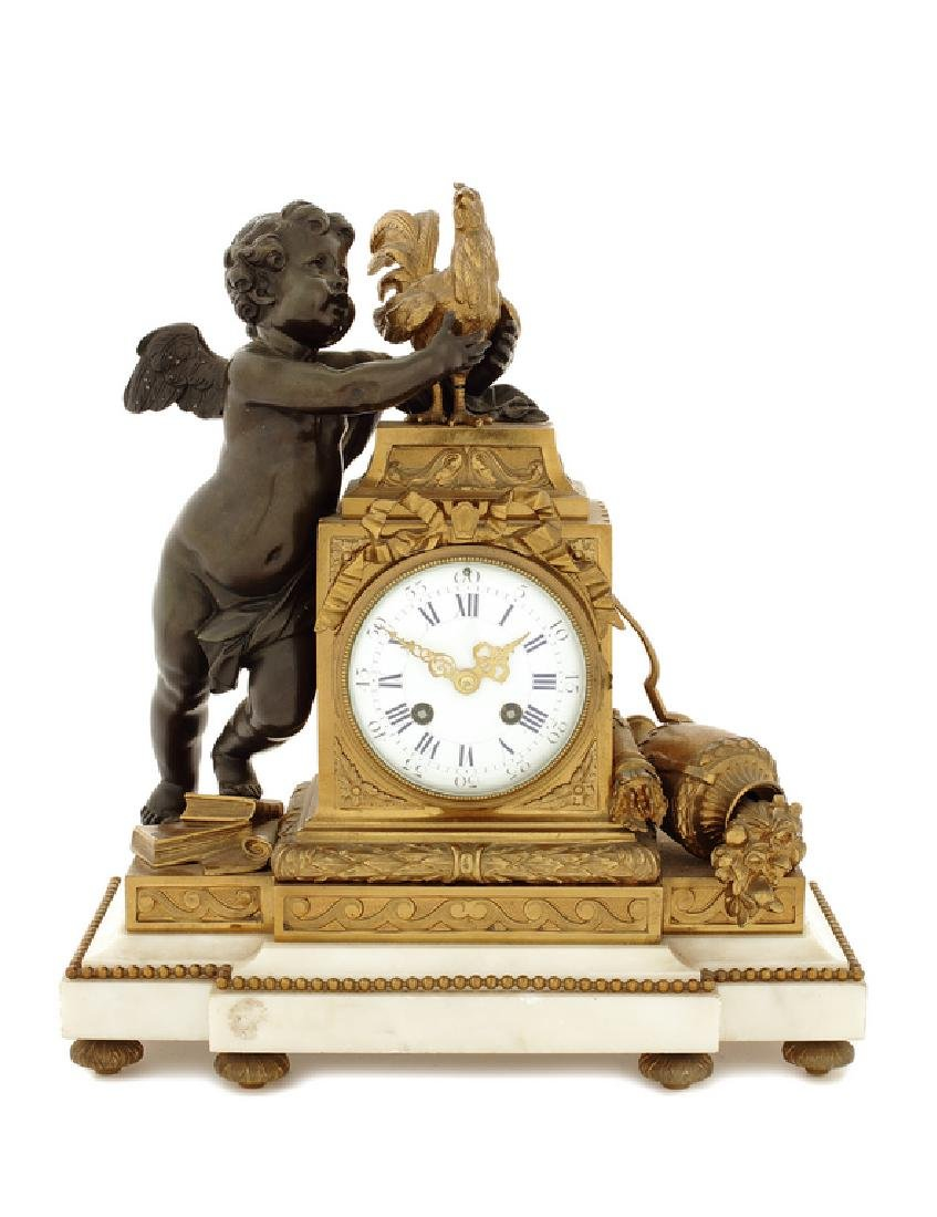 Late 19thc. French bronze and white marble mantel clock