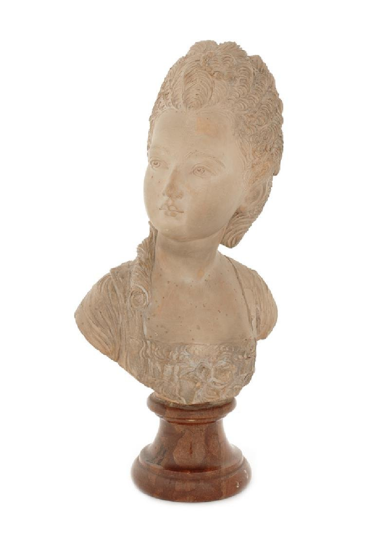 A late 19thc. painted terracotta bust after Houdon