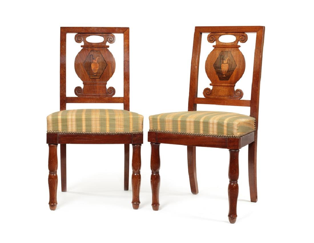 Pair of Empire mahogany, sycamore marquetry side chairs