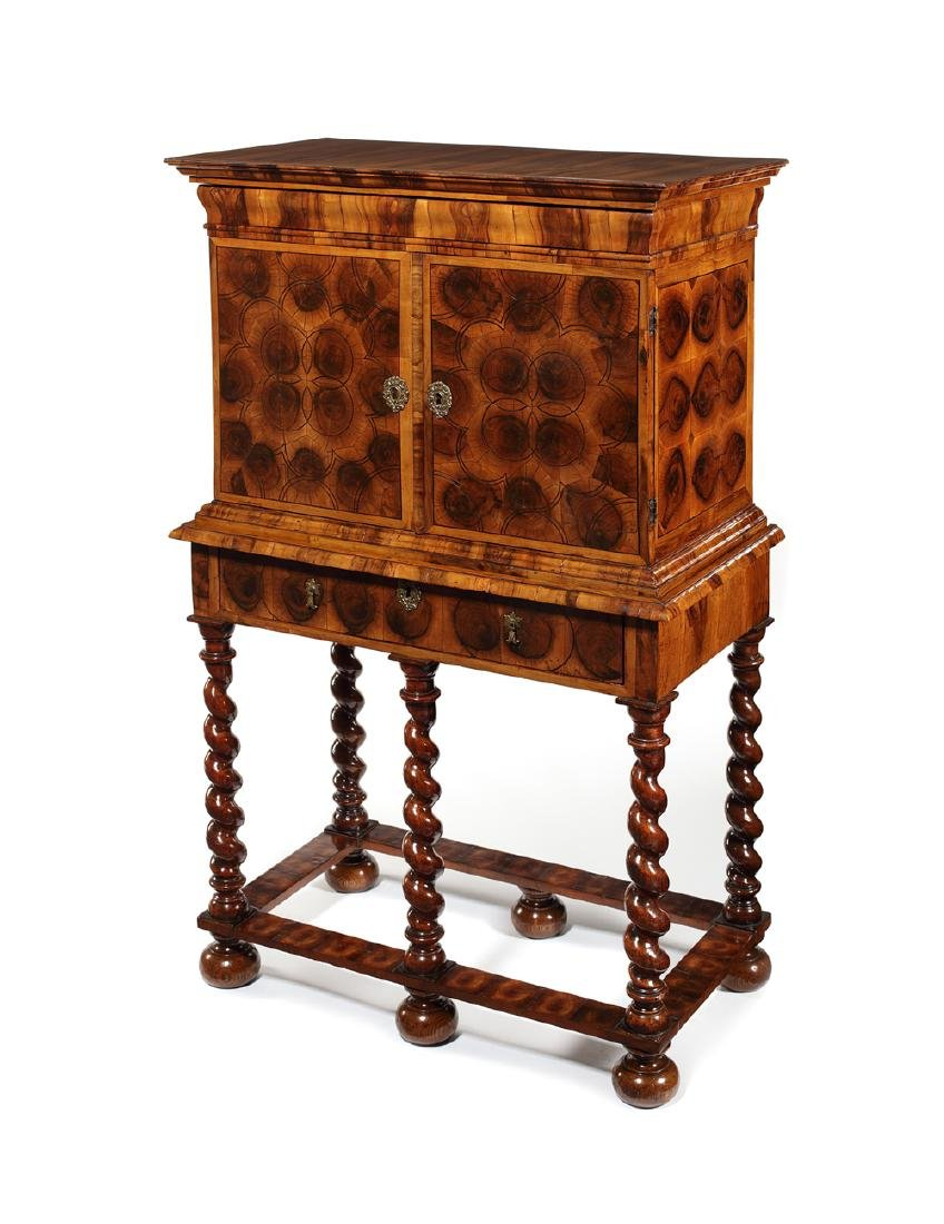 William & Mary olive wood oyster cabinet on stand