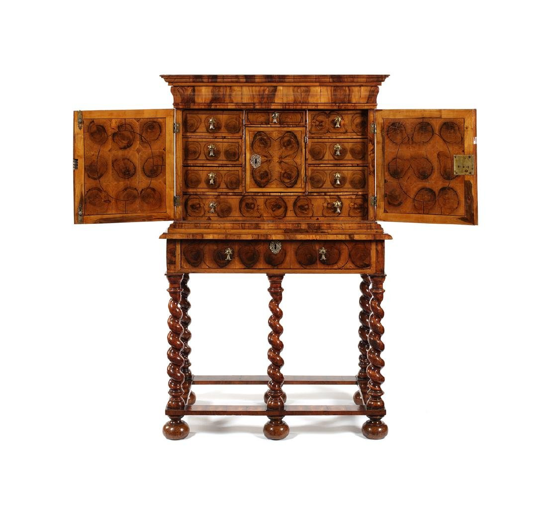 William & Mary olive wood oyster cabinet on stand - 2