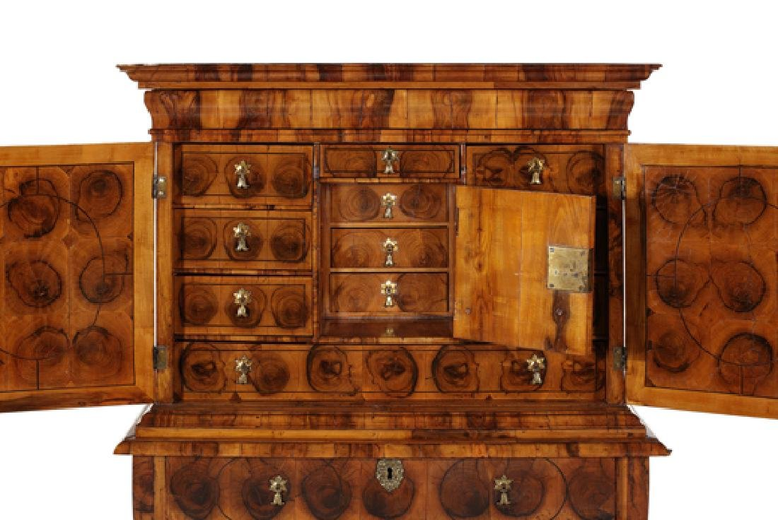 William & Mary olive wood oyster cabinet on stand - 3