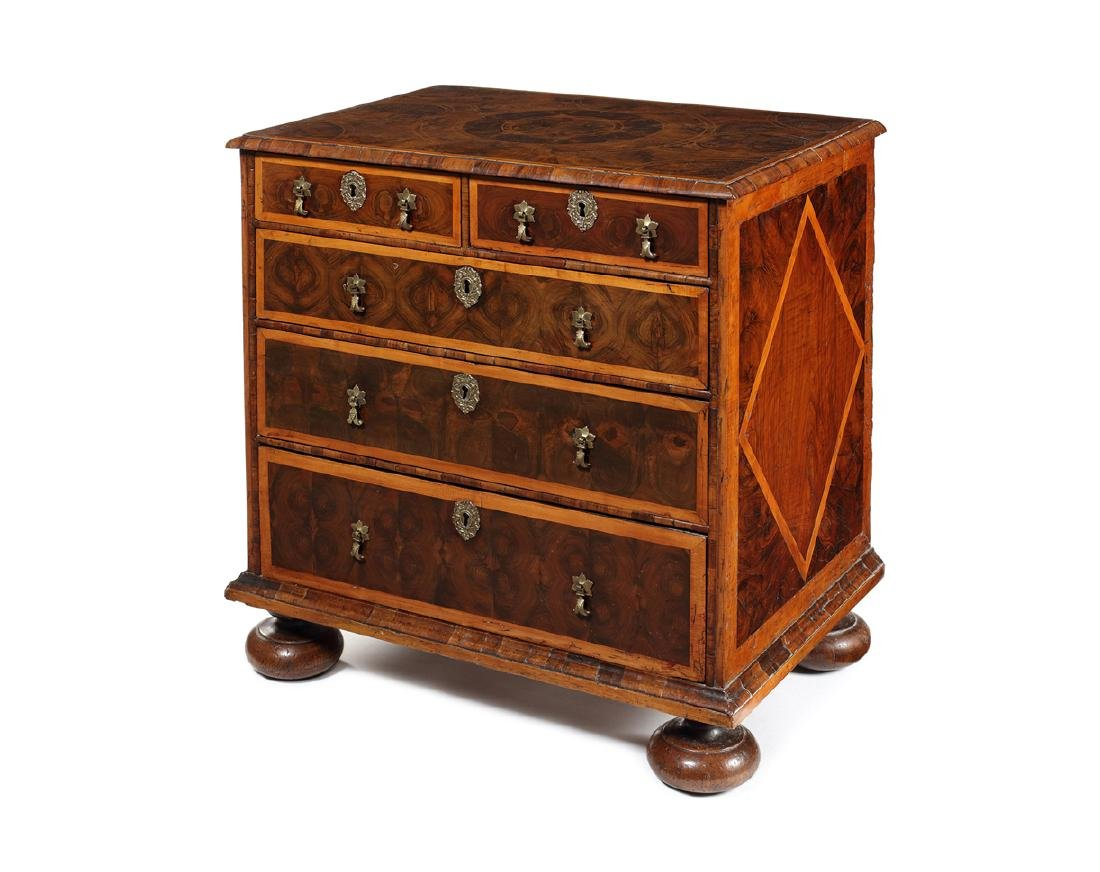 A small William and Mary walnut oyster veneered chest