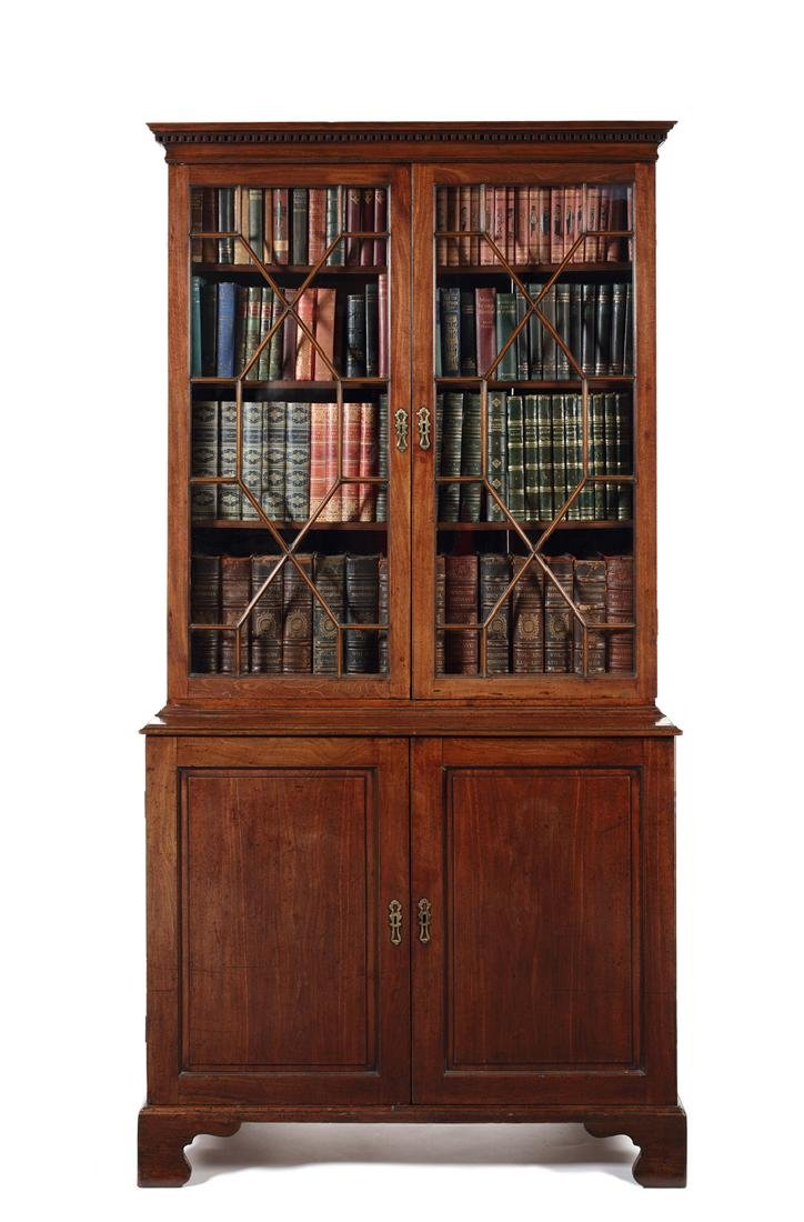 A George III mahogany bookcase cabinet
