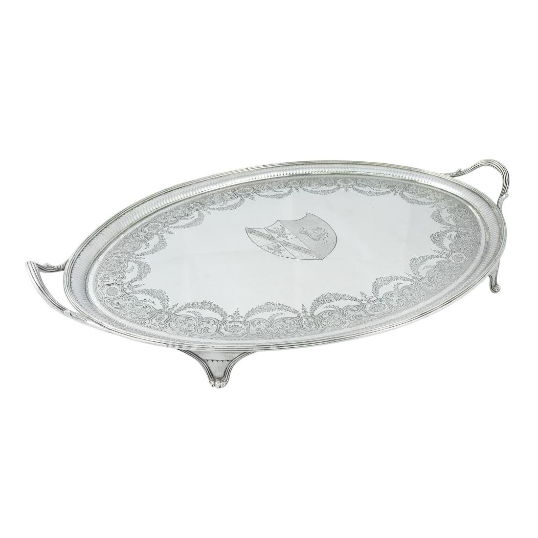 A George III two-handled oval silver tray