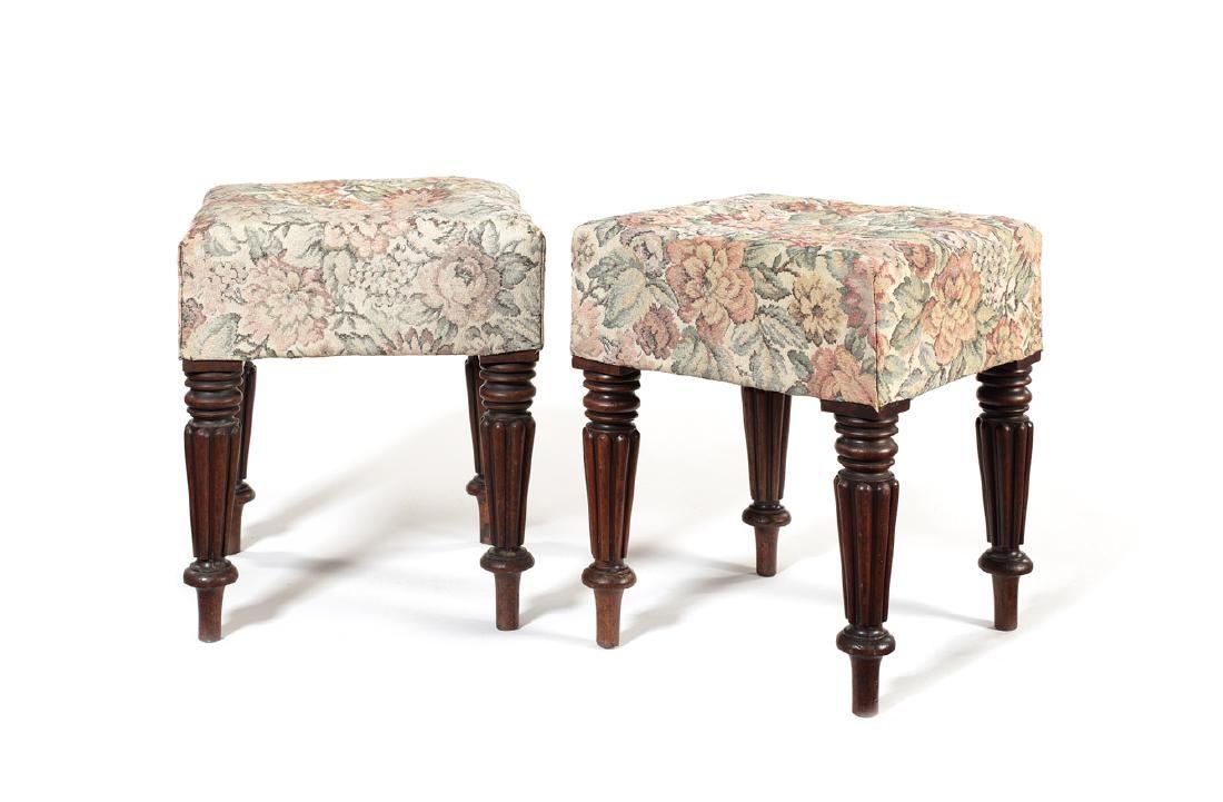 A pair of Regency mahogany stools