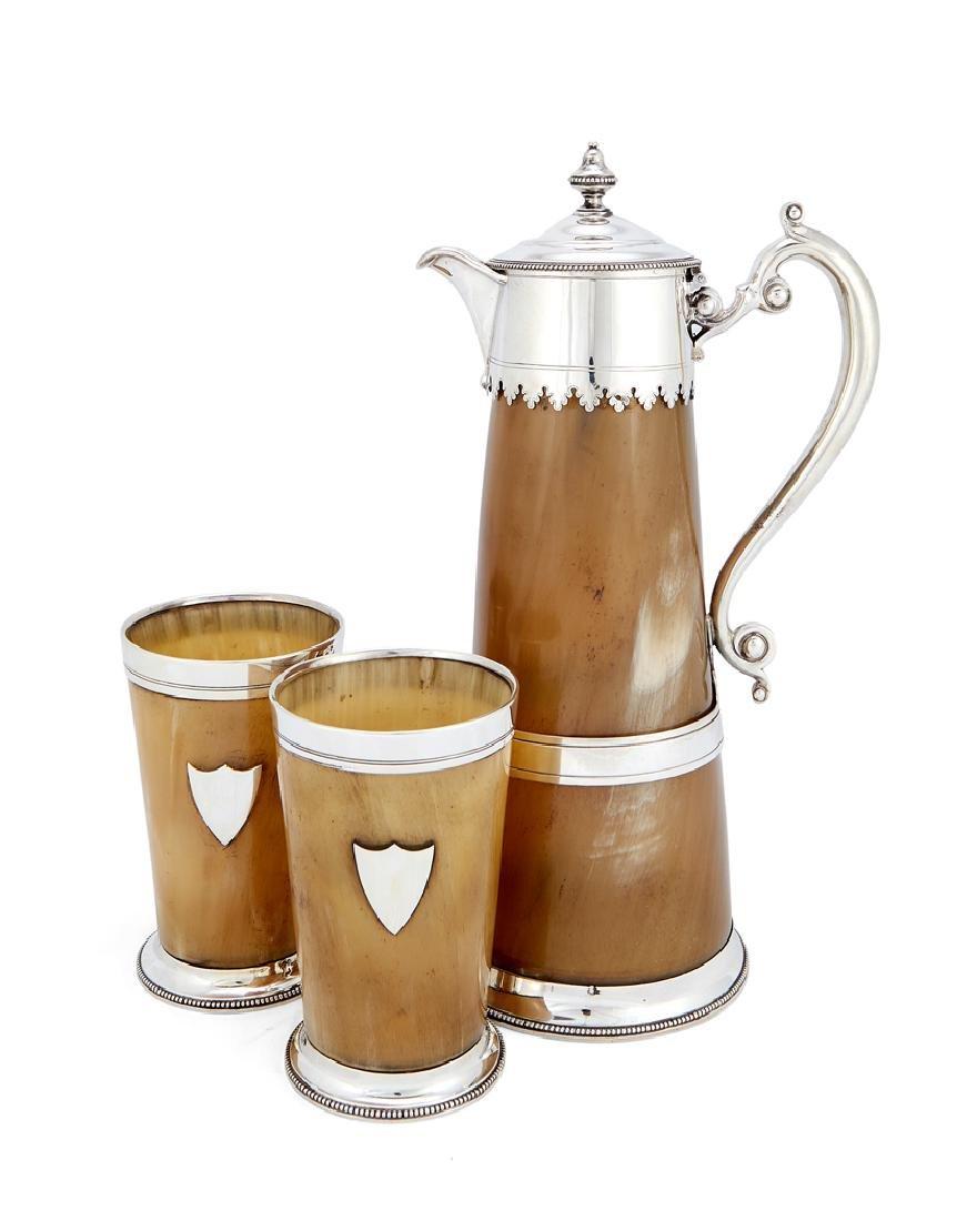 Victorian silver-mounted horn jug & beakers