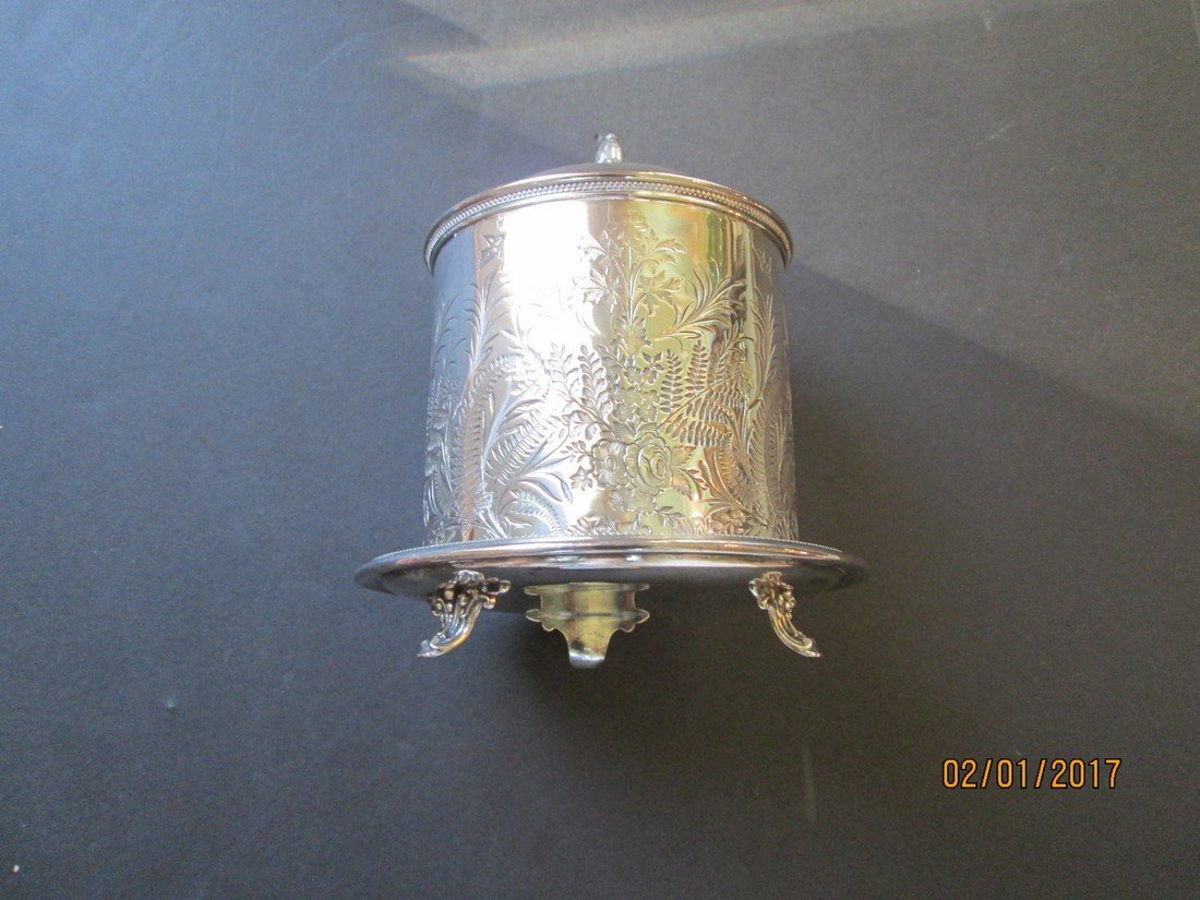 English silver plate biscuit or cracker box