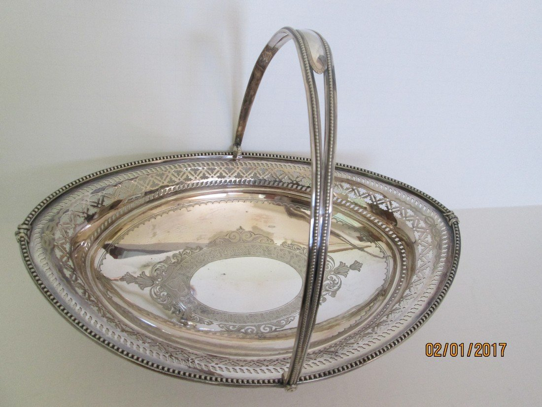 Silver plate footed basket with bright cut decoration