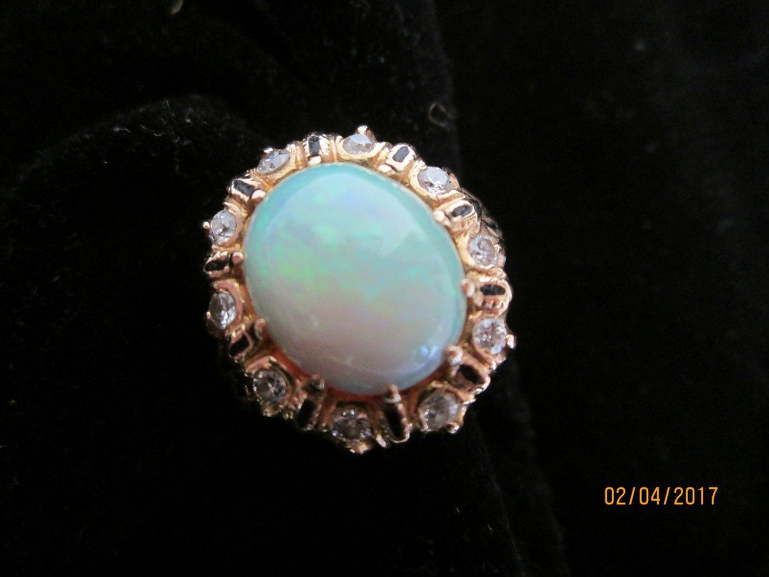 Opal, 14kt, and diamond ring