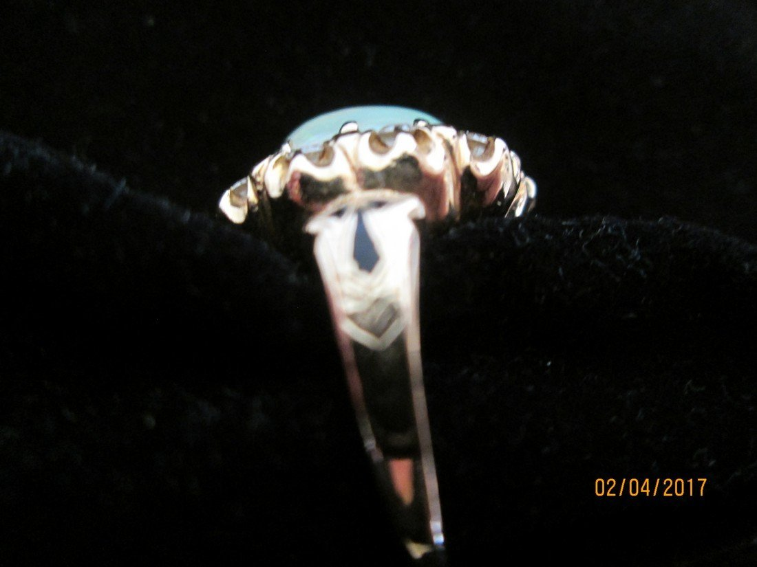 Opal, 14kt, and diamond ring - 2