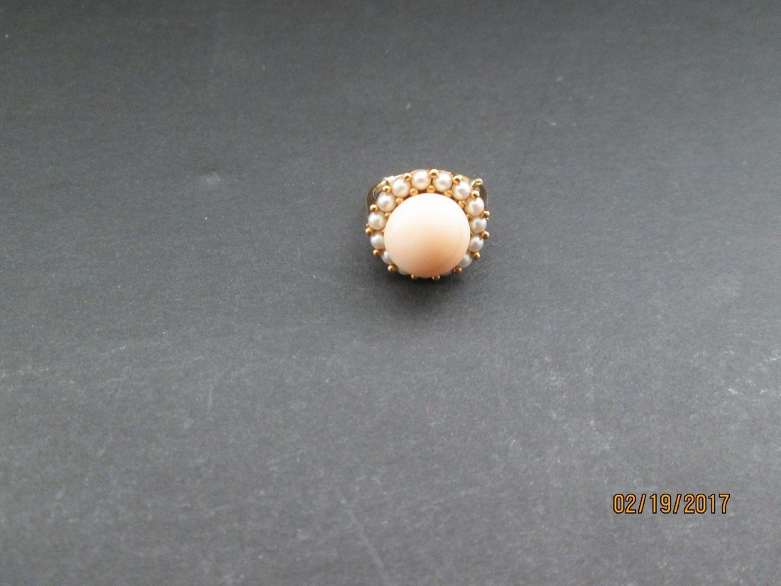 Coral & pearl 14kt ring