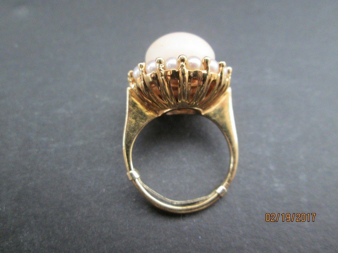 Coral & pearl 14kt ring - 2