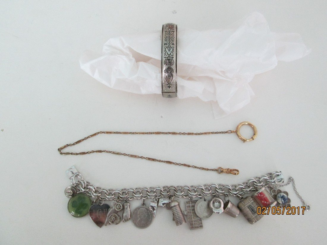 Lot of ss charm bracelet, bangle, and more