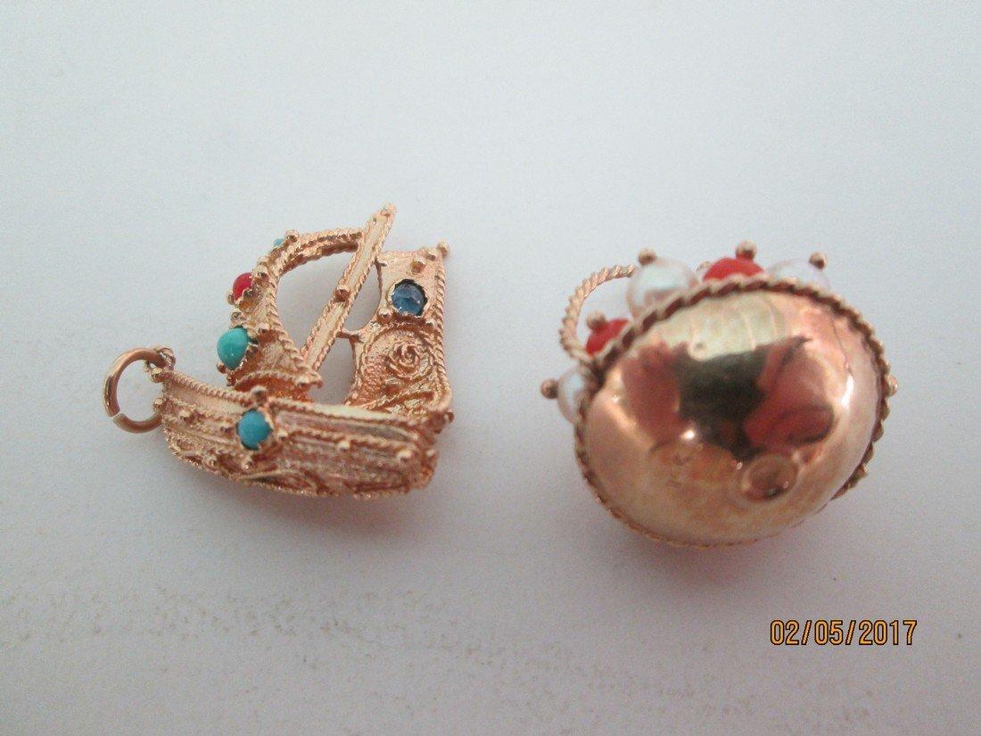 14kt charms w/gemstones - 2