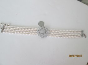 Costume pearl & diamond necklace