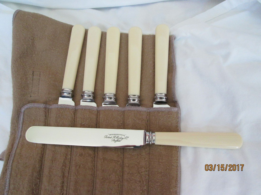 "Set of  six 10""l round edged Sheffield dinner knives"