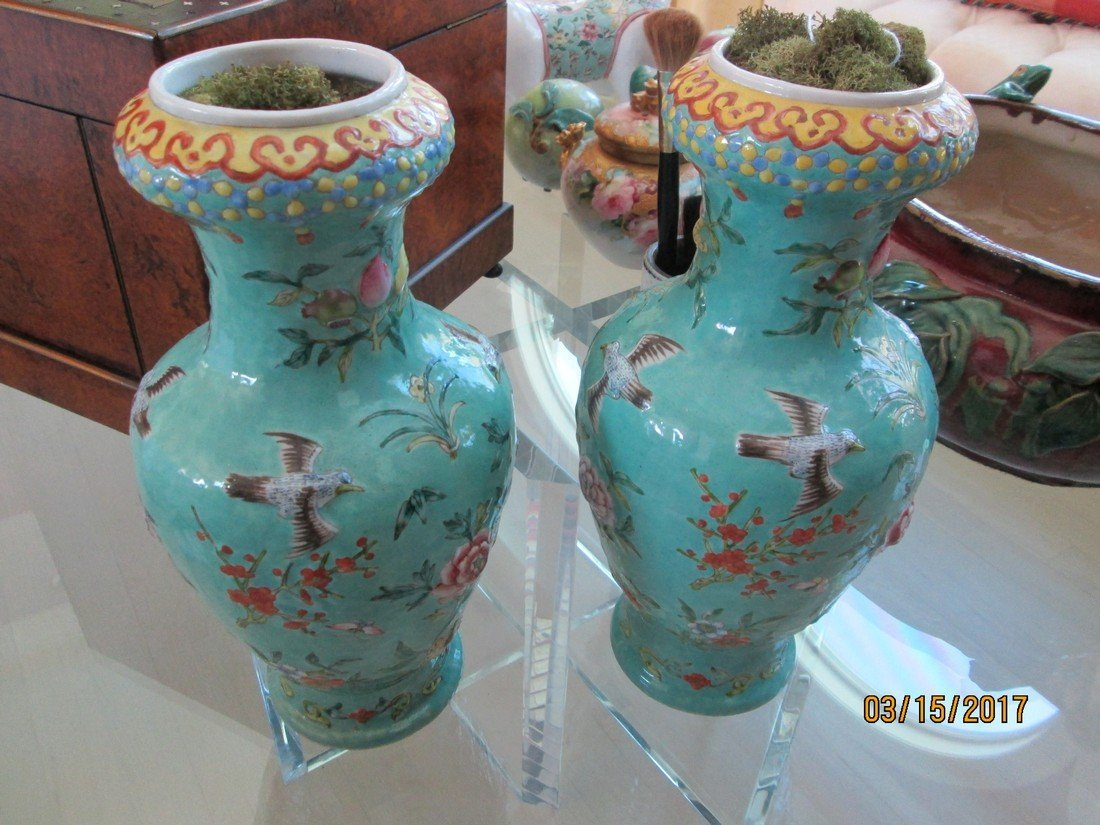 Pair Chinese vases