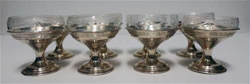 8 Wallace Sterling Silver Champagne Glass Set