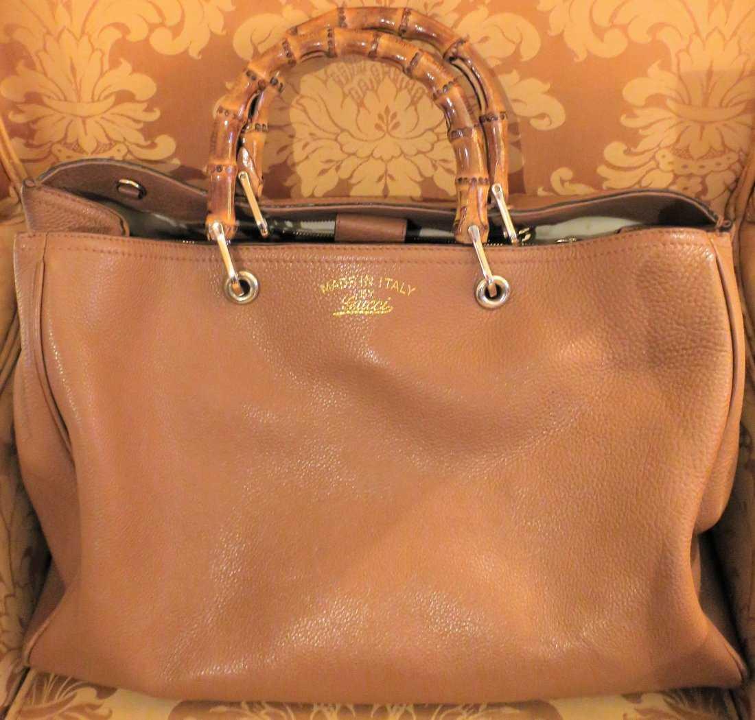 42c05ea667f6 GUCCI Bag Bamboo Shopper Tote Beige Leather Large