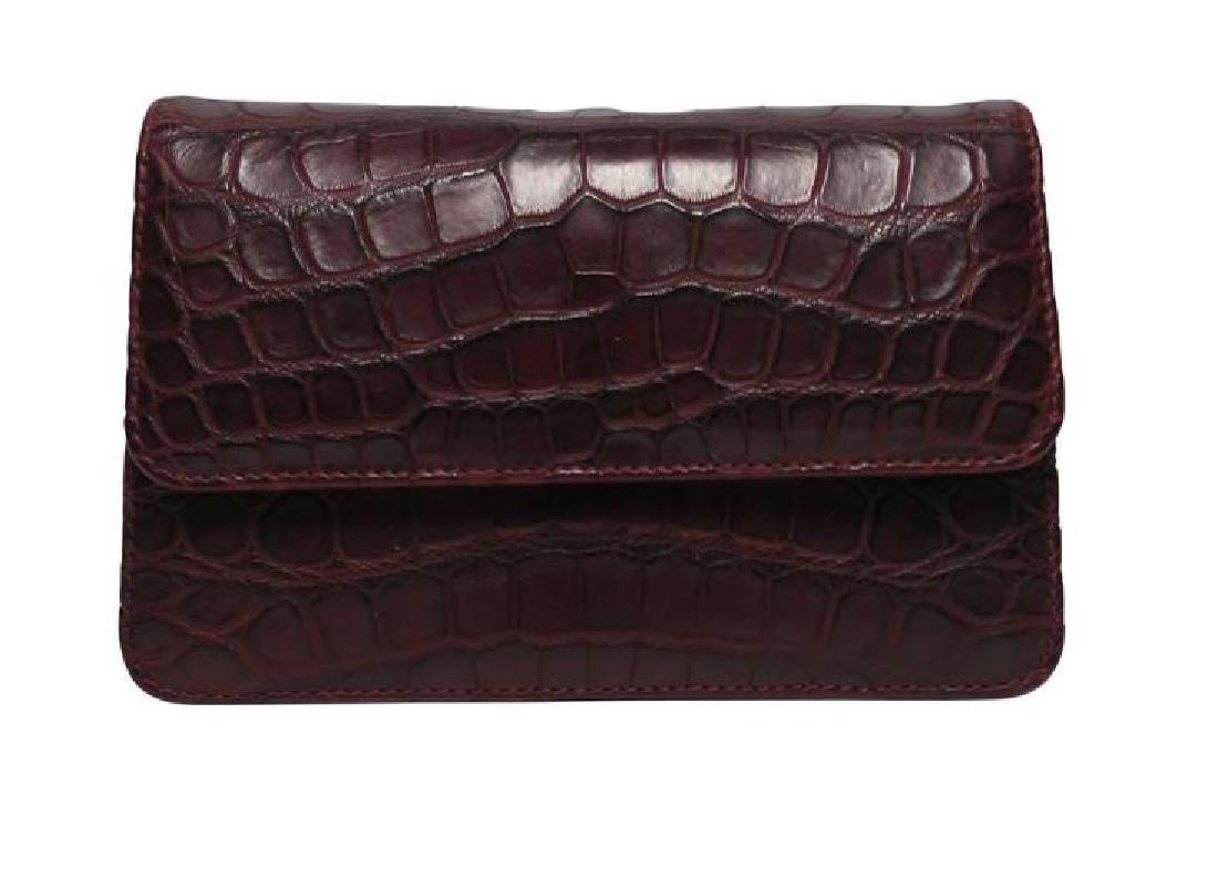 Italian Red Burgundy Leather Handbag