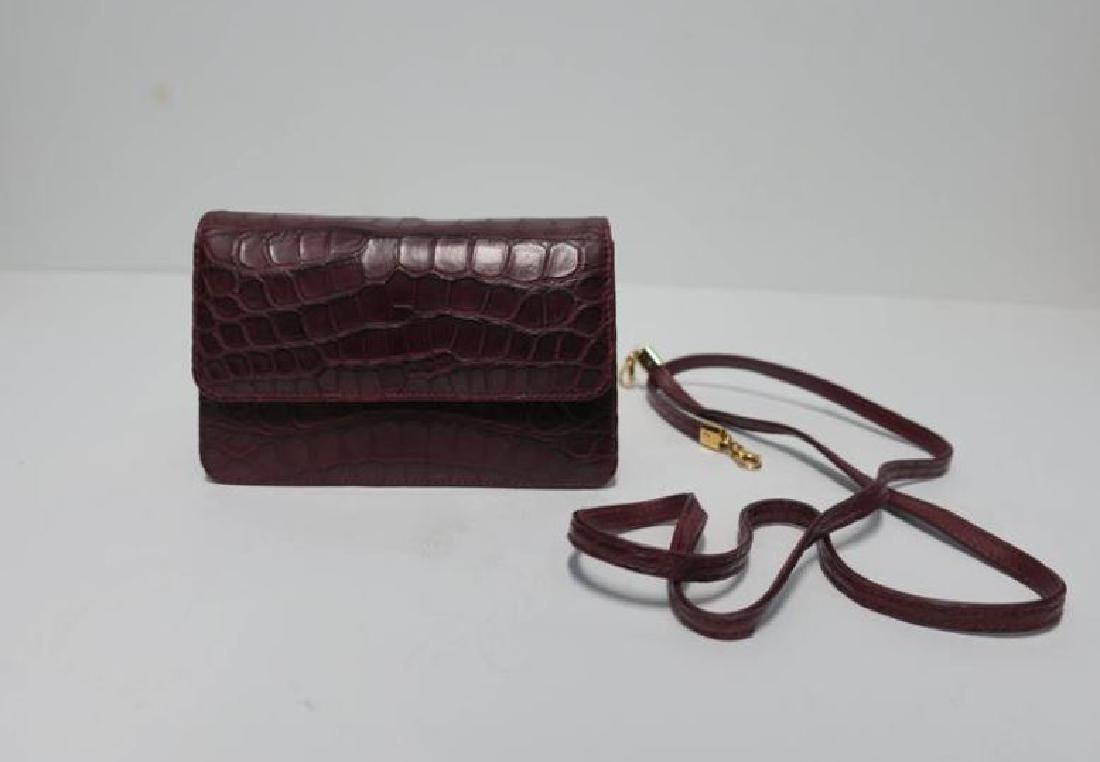 Italian Red Burgundy Leather Handbag - 3