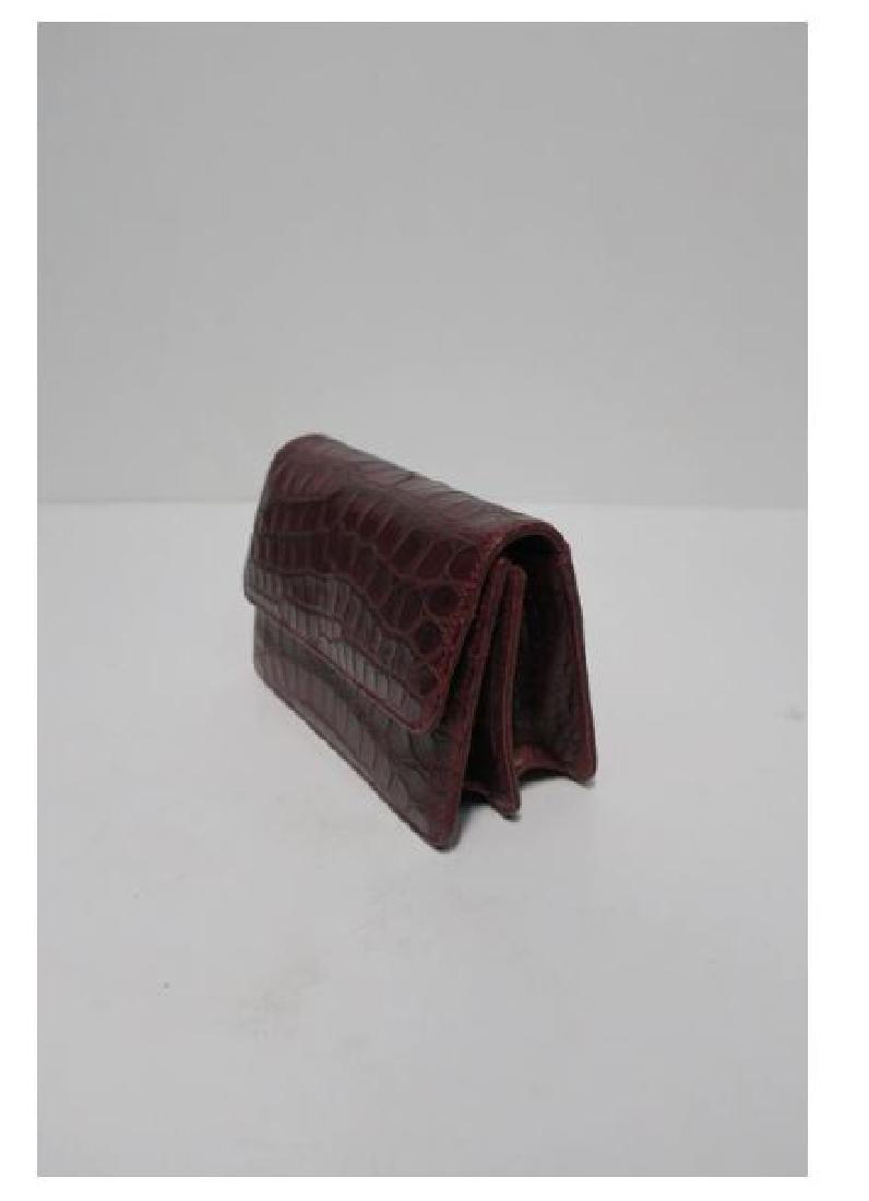 Italian Red Burgundy Leather Handbag - 4