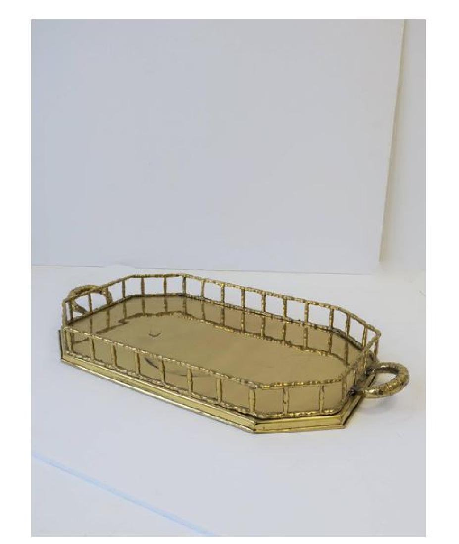 Octagonal Brass Bamboo Serving Tray