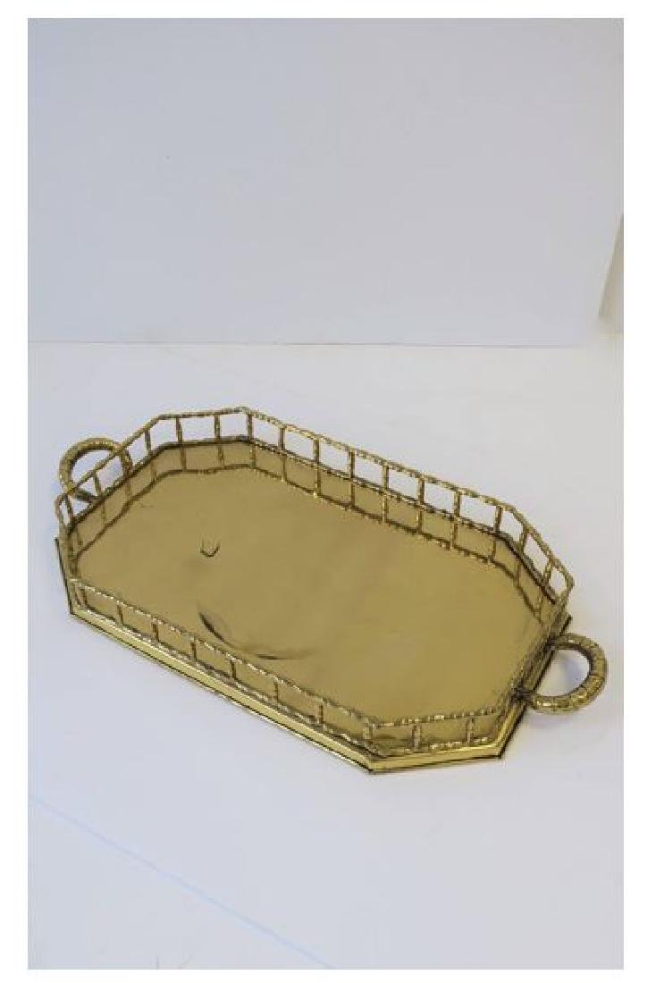 Octagonal Brass Bamboo Serving Tray - 2