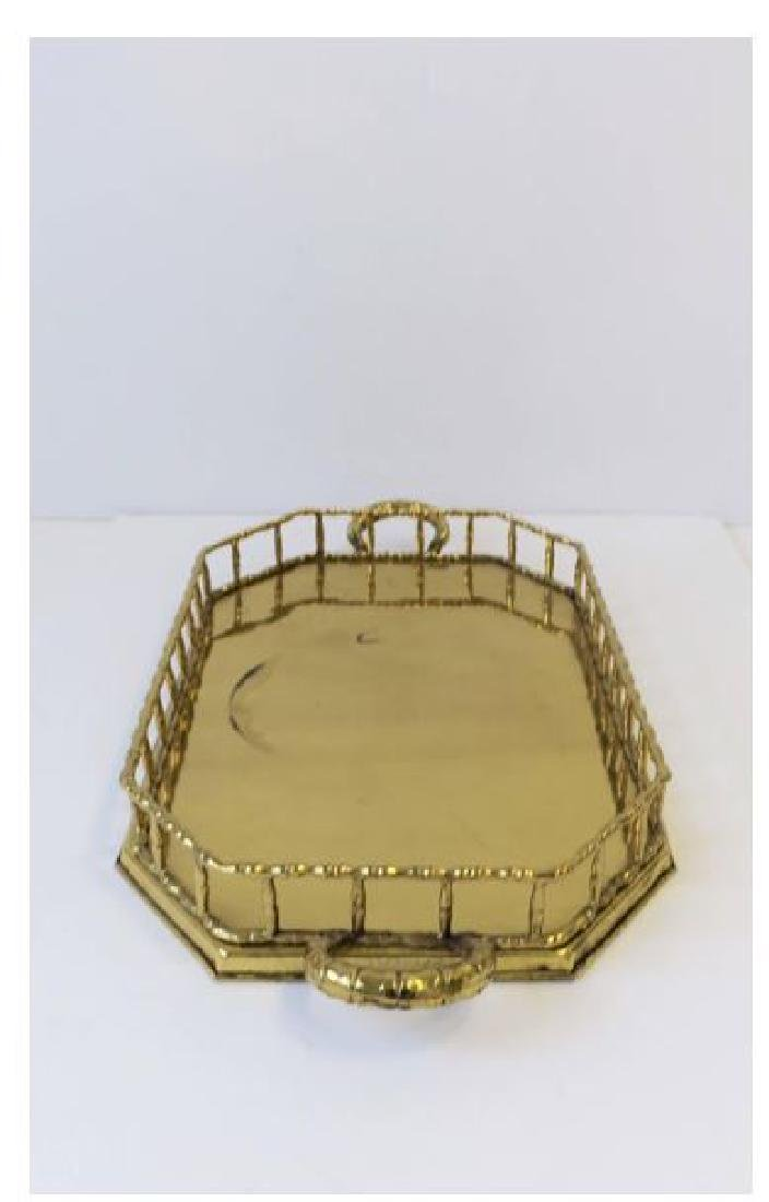 Octagonal Brass Bamboo Serving Tray - 3