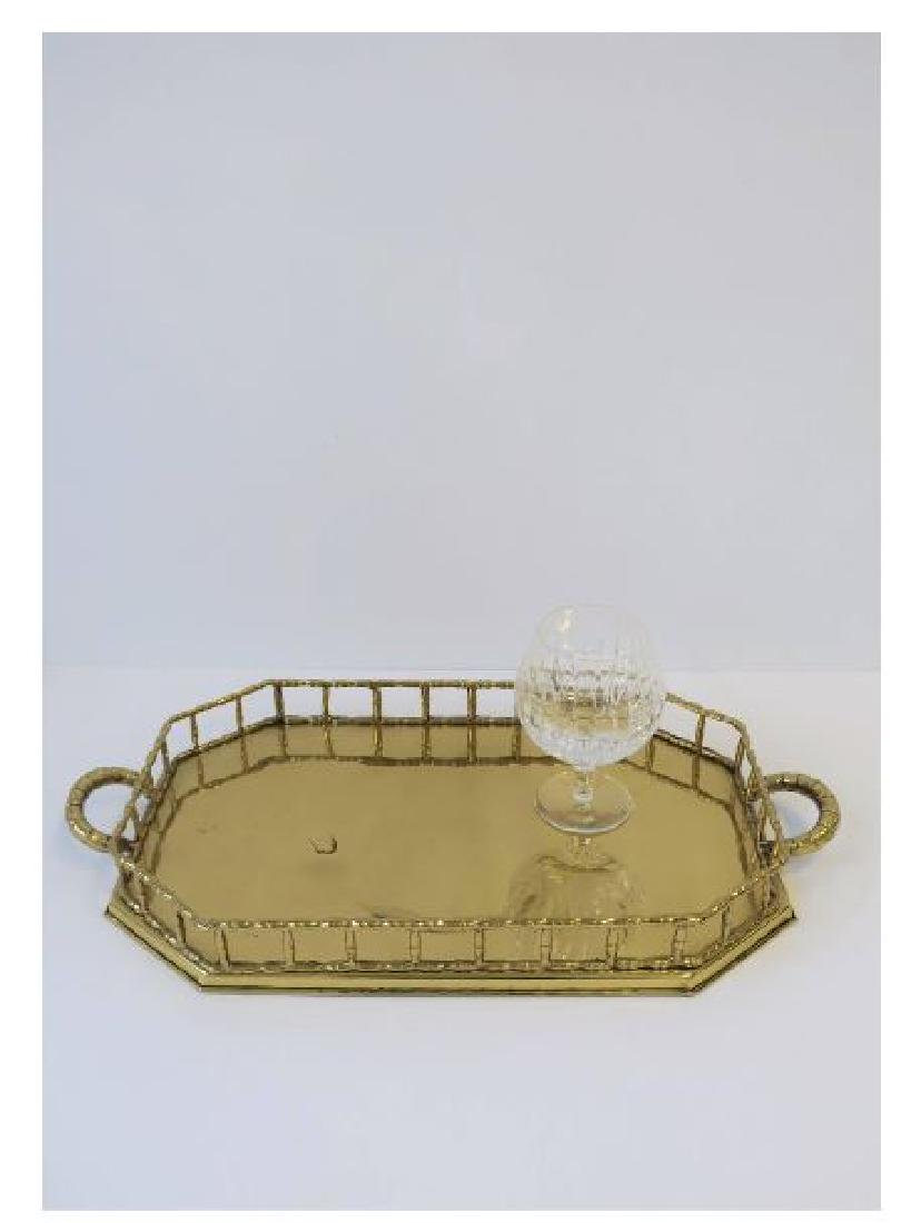 Octagonal Brass Bamboo Serving Tray - 4