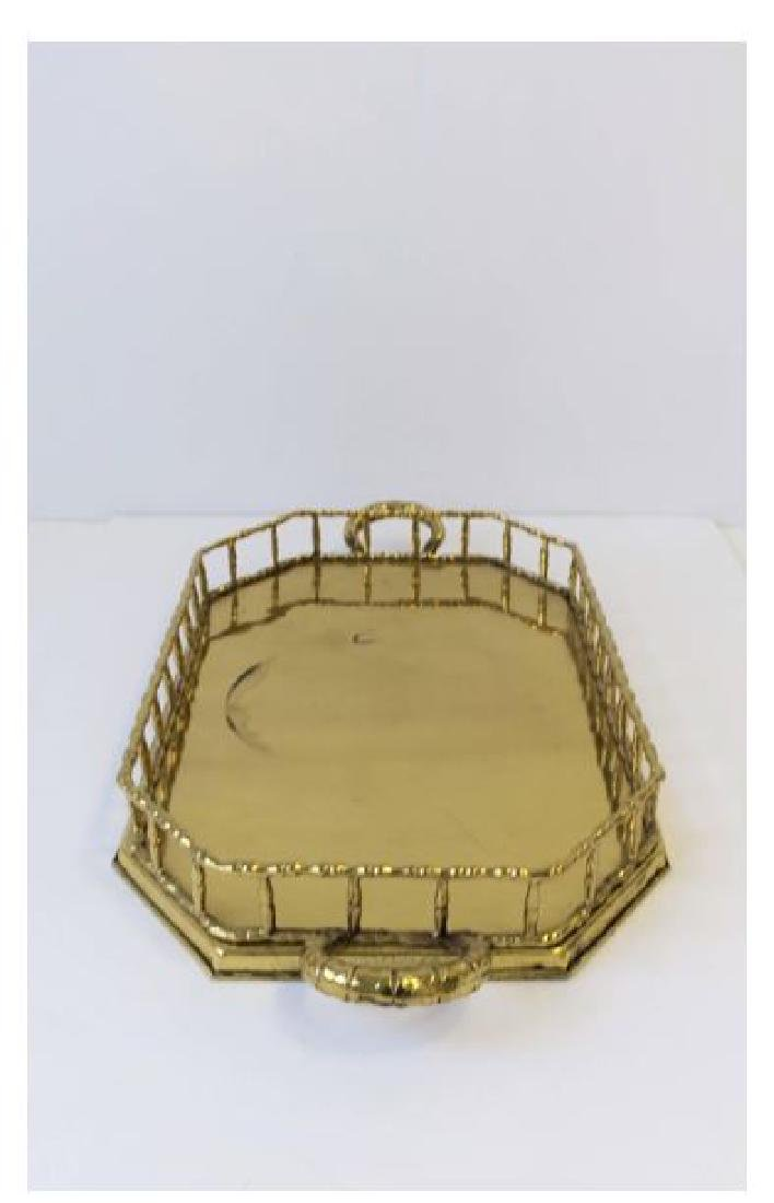 Octagonal Brass Bamboo Serving Tray - 5