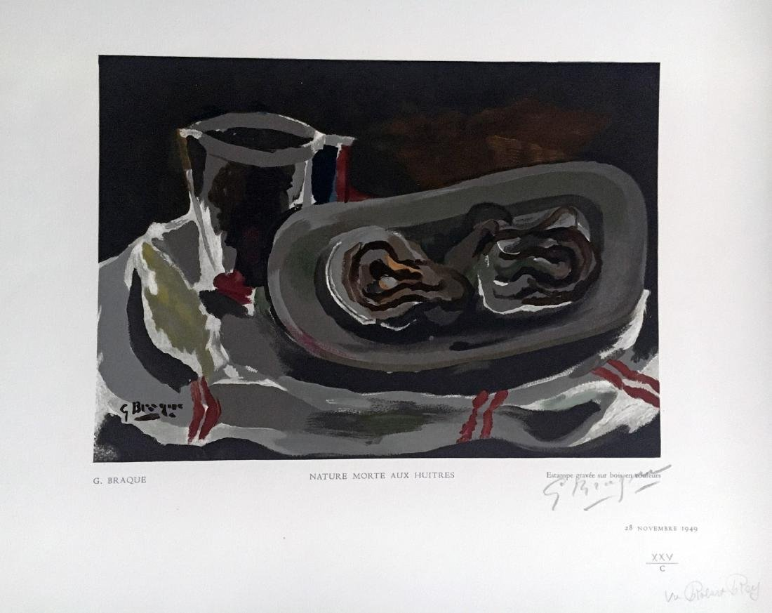 Braque (George). Wood engraving in color, 1950, signed