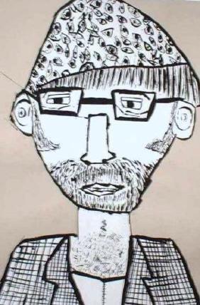 Maloney (Martin), Paint: Tempera on gray paper.