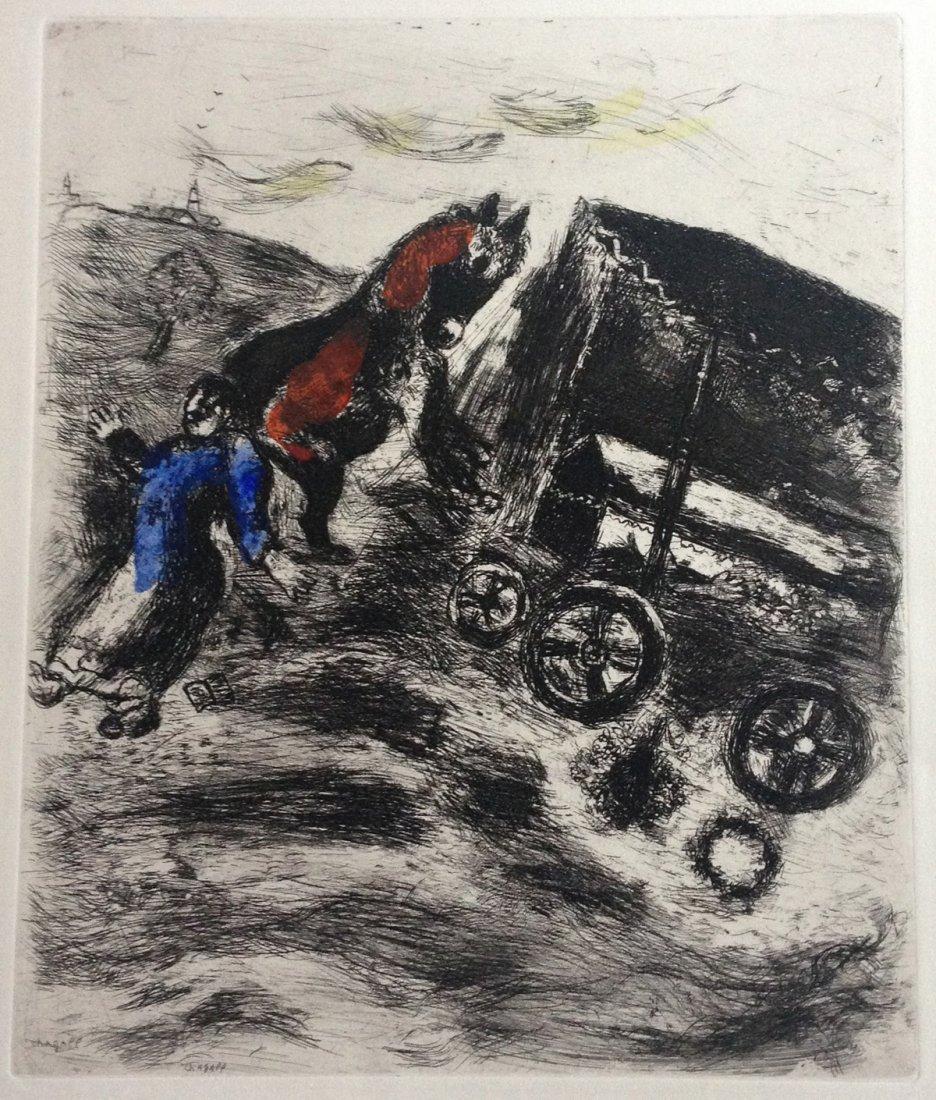 Chagall - Le Curé et le mort. Original handcolored