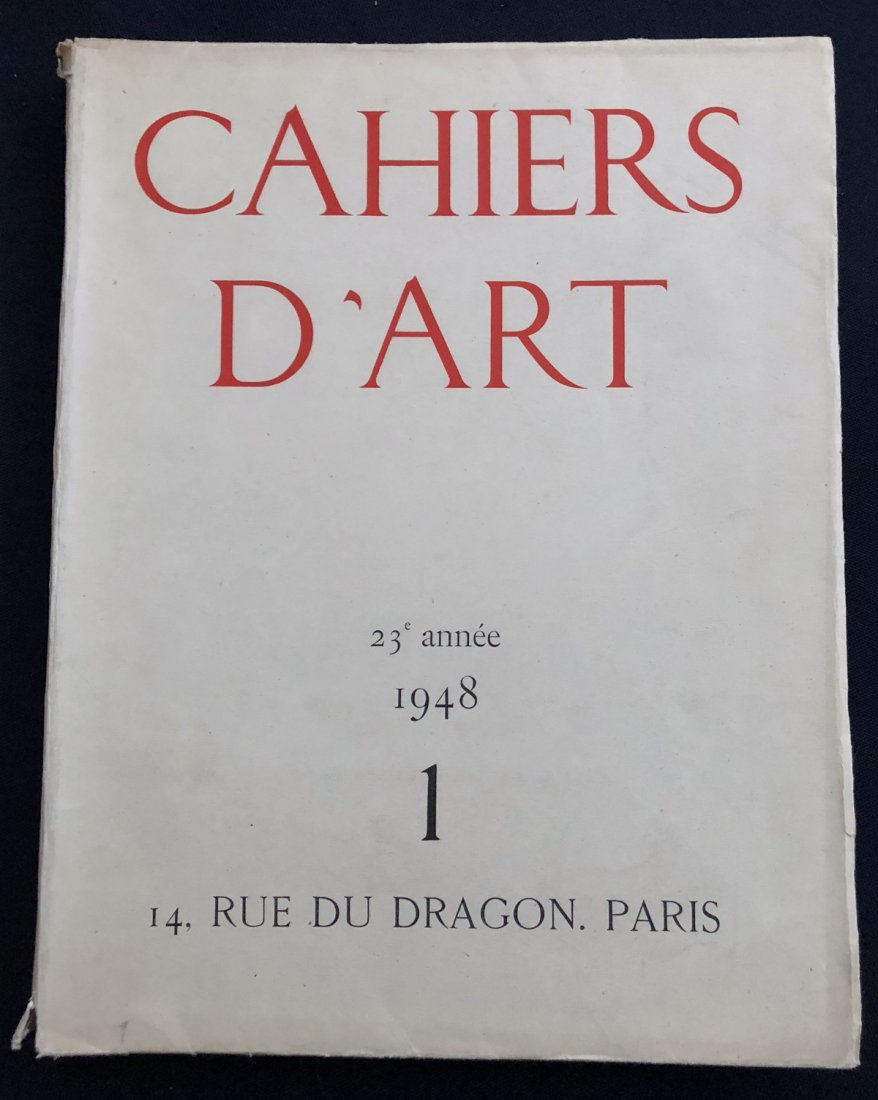 Revue Cahiers D'Art. N. 1  1948, Issue dedicated to