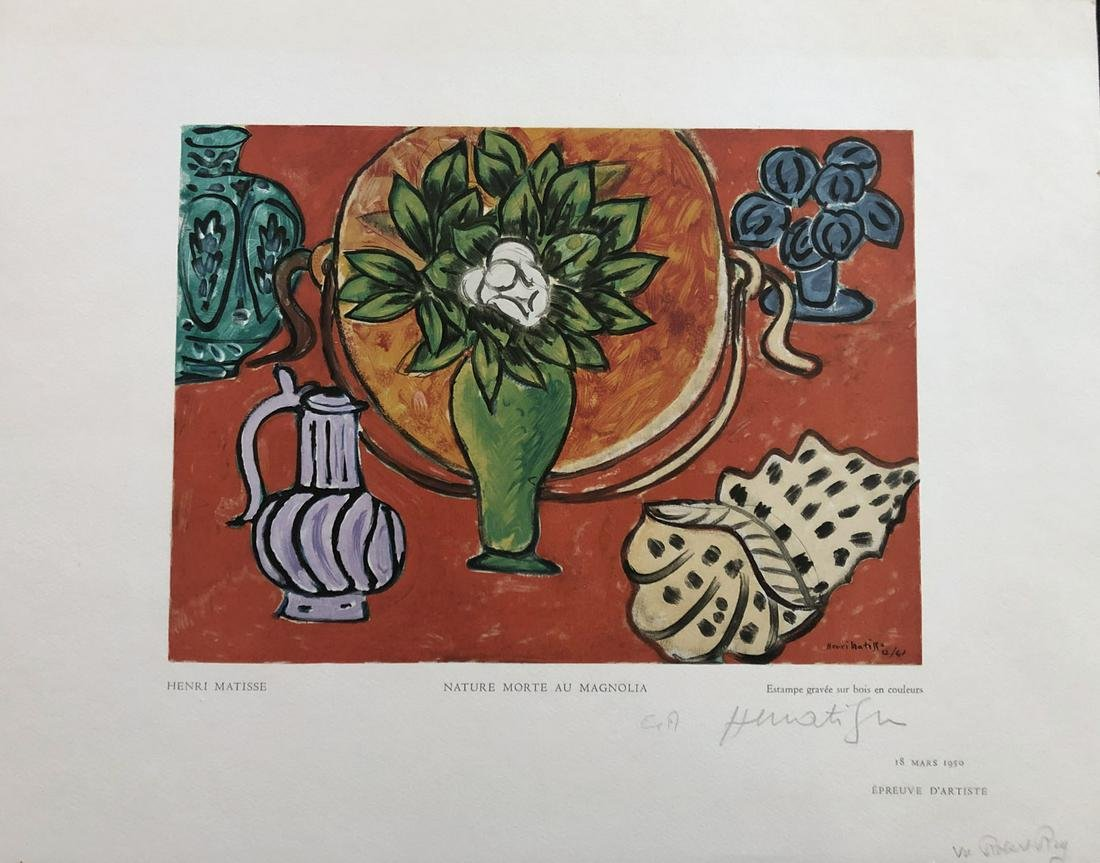 Matisse. Nature morte au magnolia. Wood engraving in