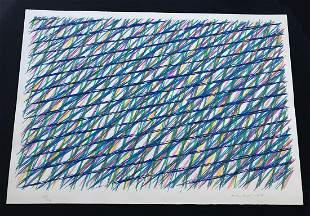 Piero Dorazio. Abstract Lines in blue. Silkscreen