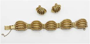 Miriam Haskell. Set Bracelet and Earrings. Signed
