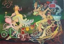 Surrealist Painting  Anriko Wensi (American ) oil canva