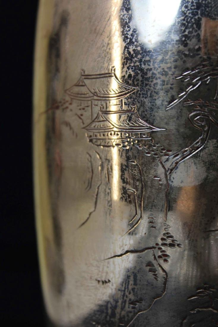 A Landscape Carving Silver Fine Vase with Mark CHUN YIN - 3