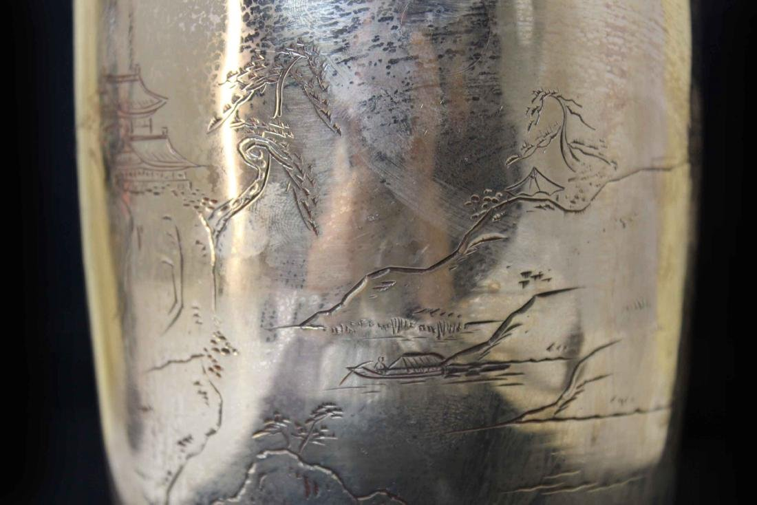 A Landscape Carving Silver Fine Vase with Mark CHUN YIN - 4