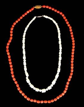 Two Coral Necklace,Red And White