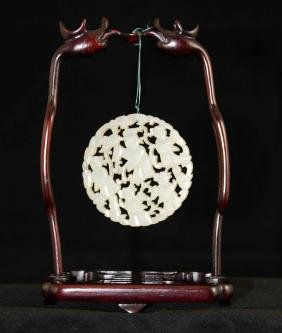 A Chinese carving jade with stand
