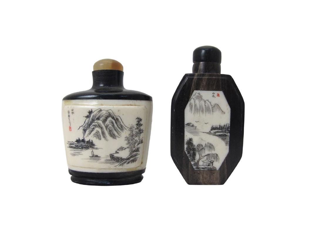 Two Chinese snuff horn bottles