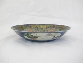 A Blue-Ground Famile-Rose Porcelain Plate