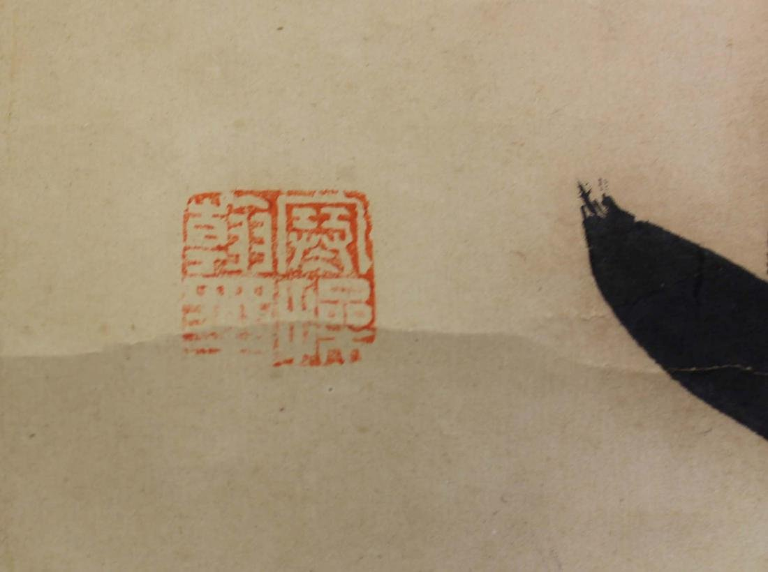 A Chinese scrolls couplet by liang han cao - 4