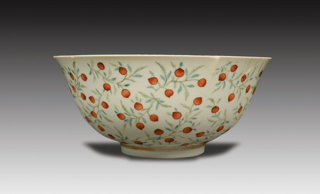 Famille-Rose Foliate Peach Pattern Bowl, Guangxu Period