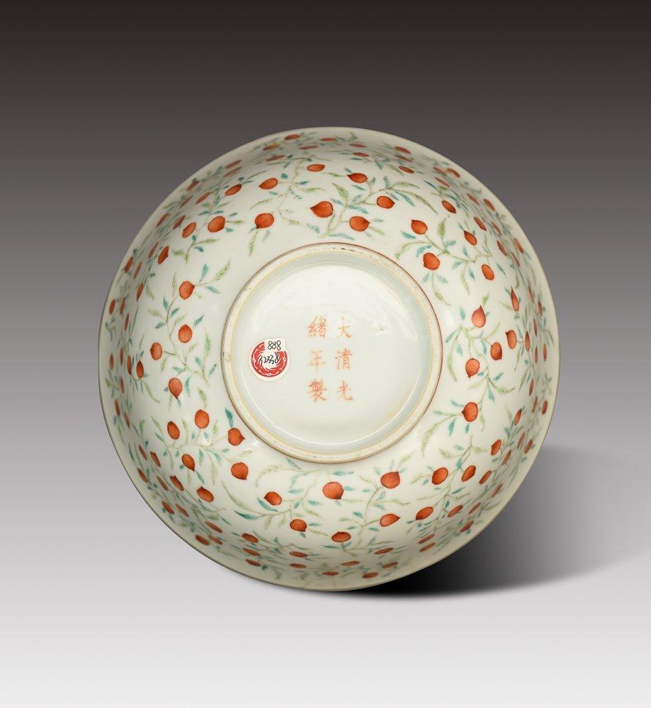 Famille-Rose Foliate Peach Pattern Bowl, Guangxu Period - 2