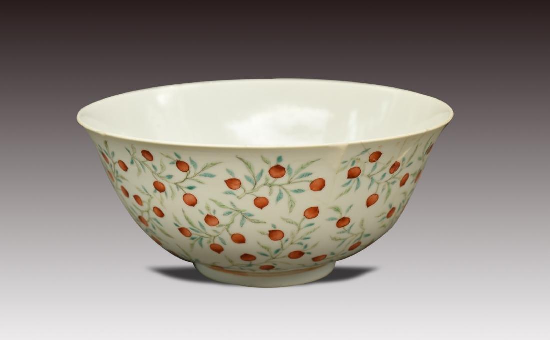 Famille-Rose Foliate Peach Pattern Bowl, Guangxu Period - 3